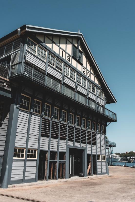 Historic building on Jones Bay Marina